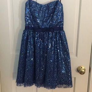 Delia's strapless blue sequin dress size 1/2.